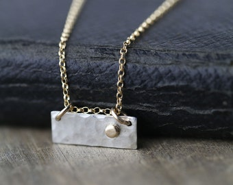Dainty Silver & Gold Necklace -  Everyday Necklace - Sterling Silver Pendant with dot of 14K Gold - Mixed Metal