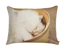 Warm Pet Bed ~ Cute Sleepy Cat Bed, deluxe cat pillow, washable cat bedding, comfy pet furniture, for my fur baby, portable fleece cat bed