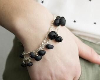 Black Bracelet Chains flowers ranunculus hand decoration women accessory wedding bridal birthday gifts