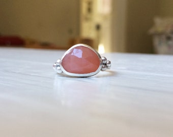 Holiday Sparkle Organic Rose Cut Peach Moonstone Ring with Cluster Balls Handmade Bezel Setting and band