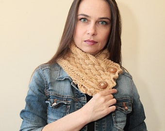 Hand Knit Scarf, Knitted Neck Warmer, Wool Scarf, Beige Cowl, Accessories, Women Fashion by Solandia, trend, knitted gift