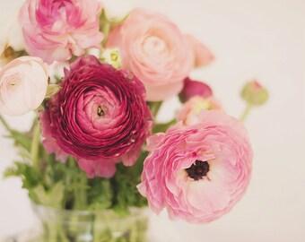 Still Life Flower Photography, Pink Floral, Ranunculus, Spring Print, Nursery Wall Art Pink Floral Print, For Her, Nursery Decor, Home Decor