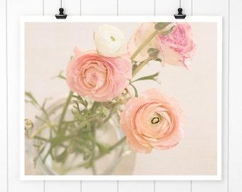 Pink Flower photography, wall decor, ranunculus, cottage decor, nursery art, fine art print, nursery art,floral wall art, pink flowers