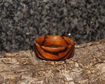 Zebra Wood Ring - US size 13 1/4