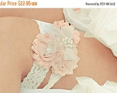 SUMMER SALE Vintage Bridal Garter Blush or Dusty Rose Ivory  Lace Garter with Rhinestones and Pearls  Custom Wedding colors