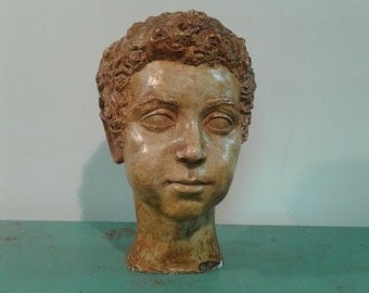 Vintage plaster head, Art, scuplture, mithological head,home decor, 70s art