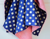 Coral Minky Baby Blanket, Gold Dot Minky Blanket, 36x42 Modern Baby Girl Bedding - Navy Blue and Coral Nursery Bedding