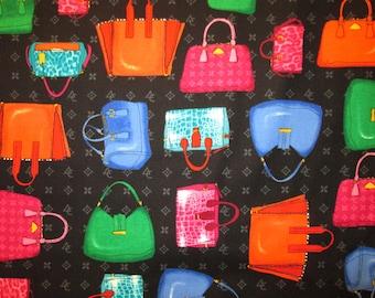 Purses Hand Bags Bright Black Cotton Fabric Fat Quarter or Custom Listing