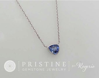 Triangle Blue Sapphire Gold Layering Necklace September Birthstone Gemstone Jewelry Keepsake Gift for Her