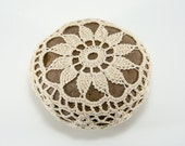 Crochet stone, beach rock, flower, beach wedding, ring bearer pillow, tabletop decor, home decor, natural thread, bowl element, mothers day
