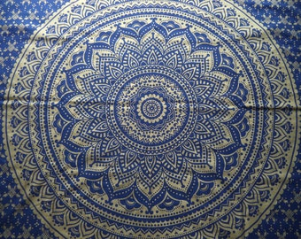 Gold and blue mandala tapestry/ India print fabric/ bohemian wall hanging/ boho bed cover/ unique hippie metallic India fabric