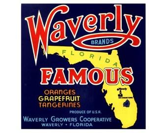 Waverly Famous Florida Citrus Crate Label