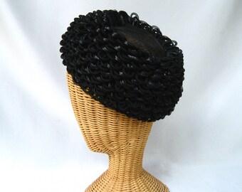Vintage Ladies Hat Looped Mesh Black Straw Toque