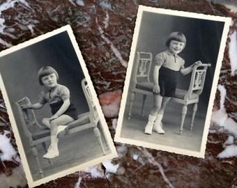 Photographies anciennes - 2 portraits de petite fille XX