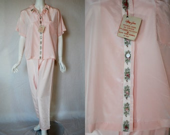 1950s Mary Jane Pink Pajamas, 36, Medium, Large,  Set, New Old Stock