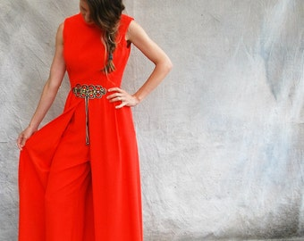 60s mod hot orange cocktail jumpsuit / 1960s Mad Men sleeveless split skirt palazzo pants - small