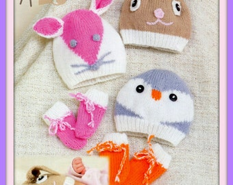 Instant Download - PDF Knitting Pattern - 3 Great Styles of Hats Slouchy Beanie Rabbit Mouse & Penguin