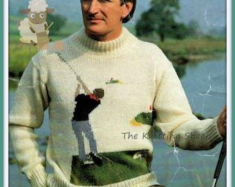 PDF Knitting Pattern For Mans Intarsia Aran Golfer Or Golfing Sweater - Instant Download