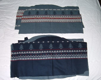 8 Remnants of Light Weight Reversible Pendleton Wool Fabric with Flaws-Various Sizes