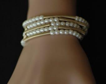 Wrap Bracelet, Long Necklace, Gold and white pearl Bracelet necklace, Gift for her, Layered Necklace Bracelet