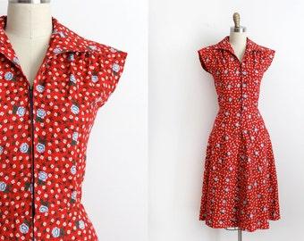 vintage 1970s dress  // 70s floral cotton day dress