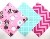 "36 Pre Cut Flannel 6""x6"" Pink Disney Minnie Mouse, Trellis and Chevron Print Rag Quilt Kit"