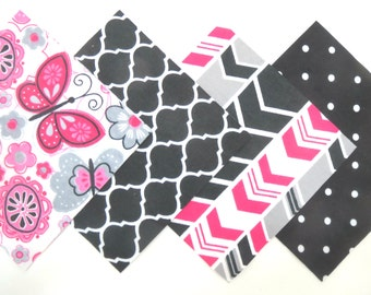 """48 Cotton Flannel 6""""x6"""" Pre Cut Quilt Square Kit in a Bundle of Pink, Grey, Black and White Flowers, Butterflies,Trellis, Dots and Arrows"""
