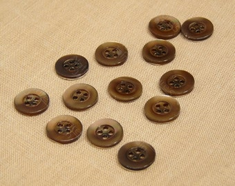 SALE Approx. 330pcs Brown Glossy Multi Colour Shell Round Button 13mm Four Holes, Sewing DIY Crafts Supplies & Findings, CRTS-0134