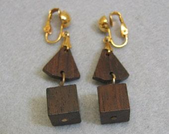 Wooden Disco Clip On Earrings, Long Dangle Earrings
