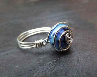 Cobalt Blue Ring:  Artisan Lampwork Glass Ring, Silver Wire Wrapped Ring, Royal Blue Glass Ring, Summer Nautical Jewelry