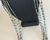 Gorgeous Four Layer Long Vintage Native American Turquoise and Tiny Hand Made Heishi Shell Bead Necklace