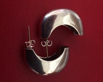 Silver Modernist Boxy Post Half Hoop Earrings