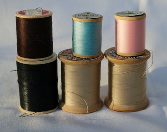 Thread Sewing Pink Blue Beige Navy Blue Black four wooden spools