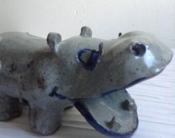 Vintage Stoneware Hippo Critter.  Unsigned Pottery Sculpture.  Vintage 1960.  Mod, pop, Mid century Kitsch,  Eames era.