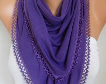 Purple Tricot Scarf Spring Summer Shawl Scarf Cowl Gift Ideas For Her Women Fashion Accessories Women Scarves