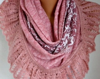 Pink Knitted Scarf, Winter Scarf,Shawl, Cowl,Bridesmaid Bridal Accessories Gift Ideas For Her Women Fashion Accessories,Christmas Gift