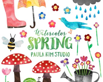 Spring Clipart, Watercolor Springtime Clip Art Set, Commercial Use, Instant Download