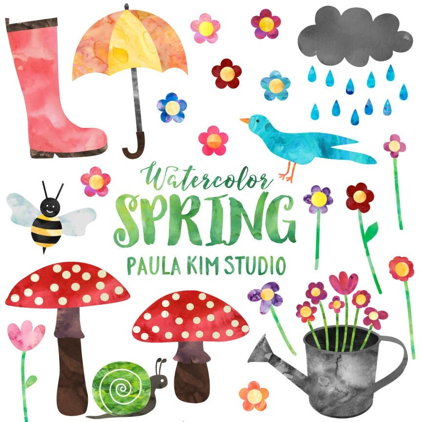spring clipart watercolor springtime clip art set commercial