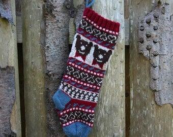 Knit Christmas Stocking with bear Holiday Xmas Santa Sock Fair Isle Stranded Knit Home Decoration Ornament (Ready to Ship) LRR