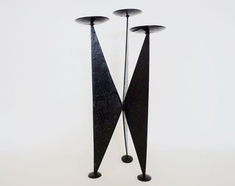 Mid Century Modernist Black Iron Candle Holder for 3 Candles