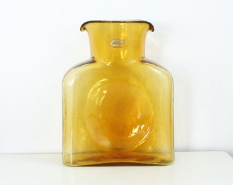 Blenko Glass Water Bottle in Amber - Double Spout Glass Pitcher in Gold