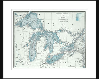 Great Lakes Map - Map  Art - Lake Superior, Lake Michigan, Lake Huron, Lake Erie