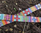 Multi color beaded sideways cross leather bracelet - Las Cruces - colorful cross fringe tassel spiritual yoga boho by slashKnots