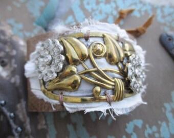 OOAK Floral leather bracelet - Corsage - eco chic upcycled antique vintage floral boho by slashKnots