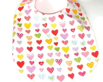 Valentine Bib - Hearts and Pink Gingham - New Baby Gift Under 10 - Baby's First Valentine