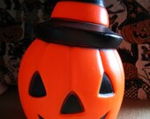 Blow Mold Halloween Pumpkin with Witches Hat