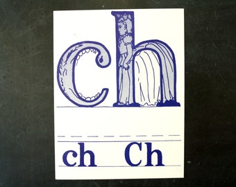 "Vintage Letters ""CH"" Flashcard / Phonics Card, 7"" tall (c.1958) - Collectible, Altered Art Ephemera, Home Decor, and more"