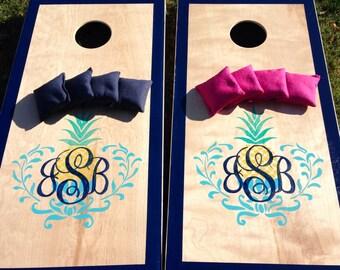 Custom Hawaiian Monogram Personalized Wedding Cornhole Board Set with Bags for Your Wedding Reception Pineapple Logo