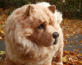 LIFE SIZE Chow Chow Adult Dog Sculpture OOaK All Natural Needle Felted Life Size Dog/Puppy