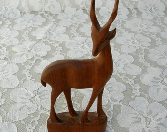 "Graceful African Gazelle, hand-carved wood animal, 6"" x 2 1/2"""
